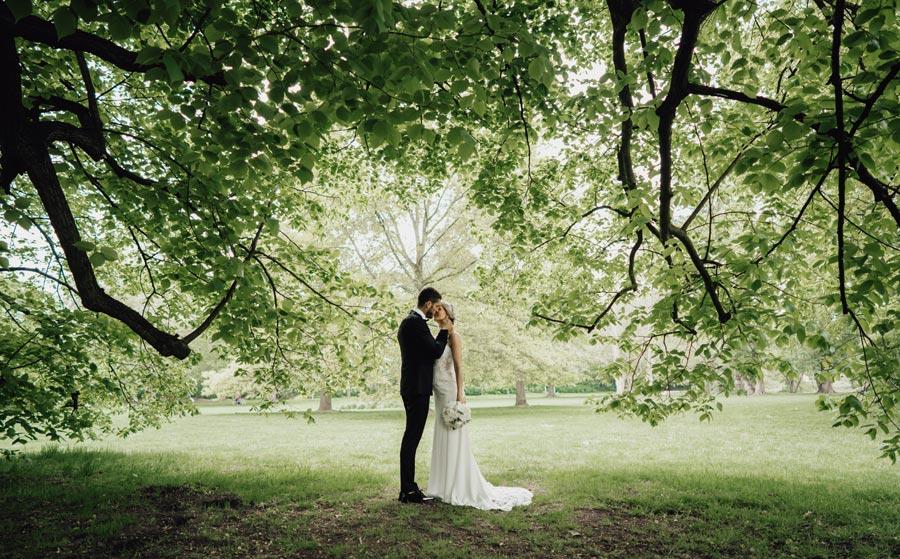 Brautpaar unter Baum