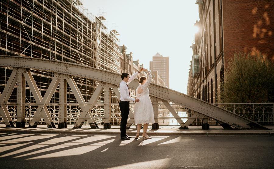 Hochzeitsshooting in Hamburg bei Sonnenuntergang